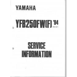 Manuel d'atelier Yamaha YFB 250 FW (F) de 1994