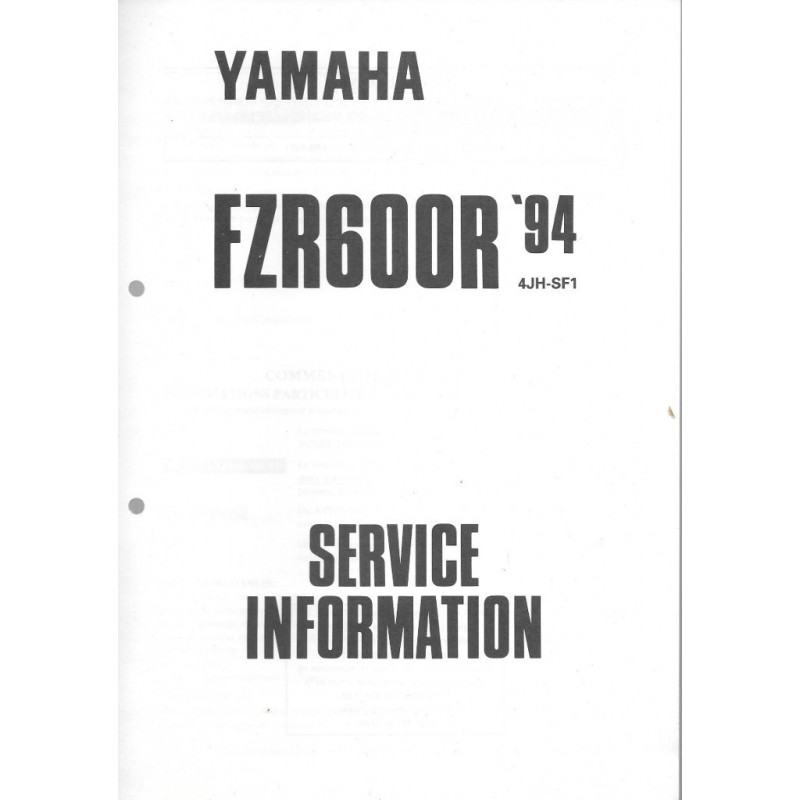 manuel d u0026 39 atelier yamaha fzr 600 r 1994    95 type 4jh