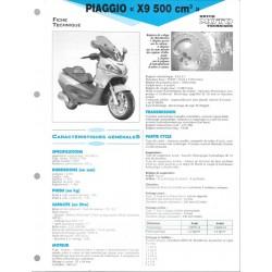 PIAGGIO X 9 500 cc de 2001 Fiche RMT