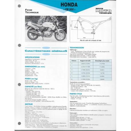 HONDA CB 500 de 1995 / 1996 (Fiche RMT)