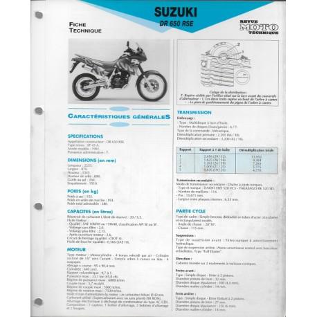 SUZUKI DR 650 RSE de 1991 (Fiche RMT)