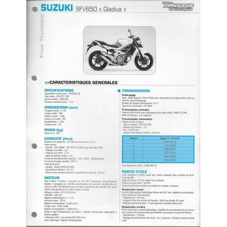 SUZUKI SFV 650 Gladius K9 de 2009 (Fiche RMT)