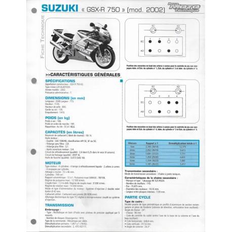 SUZUKI GSX- R 750 de 2002 (Fiche RMT)