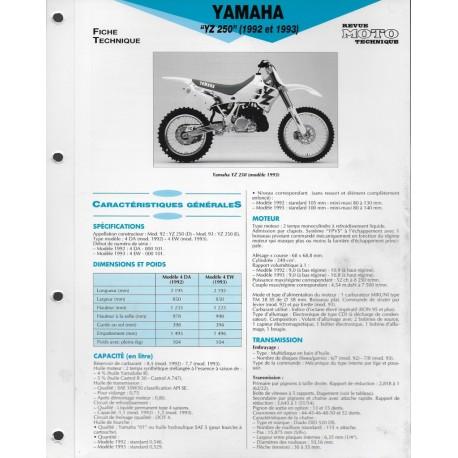 YAMAHA YZ 250 de 1992 et 1993 (Fiche RMT)