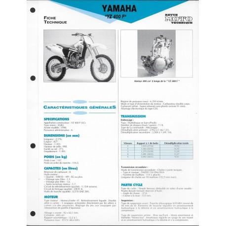 YAMAHA YZ 400 F de 1998 (Fiche RMT)