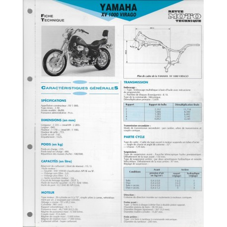 YAMAHA XV 1000 Virago de 1986 à 1989 (Fiche RMT)