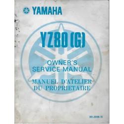Manuel atelier YAMAHA YZ 80 (G) 1980 type 3R1
