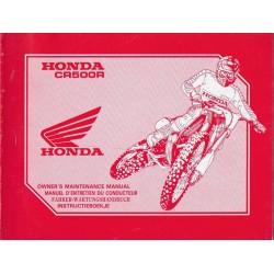 HONDA CR 500 R 1993 (manuel de base) Type ML3 (07/92)