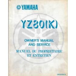 Manuel atelier YAMAHA YZ 80 (K) 1983 type 22W