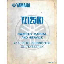 Manuel atelier YAMAHA YZ 125 (K) 1983 type 24X