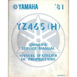 Manuel atelier YAMAHA YZ 465 (H) 1981