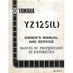 Manuel atelier YAMAHA YZ 125 L 1984