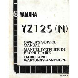 Manuel atelier YAMAHA YZ 125 N 1985