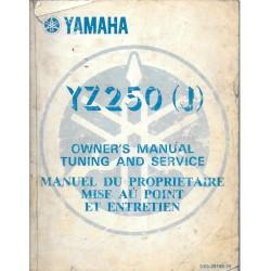 Manuel atelier YAMAHA YZ 250 J 1981