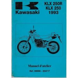 Manuel atelier KAWASAKI KLX 250 / 250 R de 1993