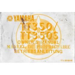 YAMAHA TT 350 / TT 350 S (Manuel propriétaire septembre 1985)