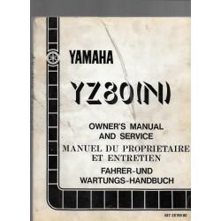 Manuel atelier YAMAHA YZ 80 N 1985