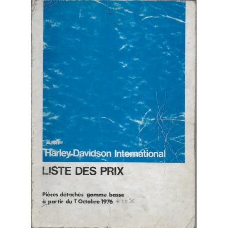 HARLEY-DAVIDSON Barême temps de travail 1975 / 1976