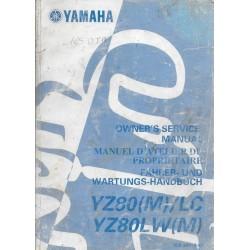 Manuel atelier YAMAHA YZ 80 (M) / LC et YZ 80 LW (M) 2000