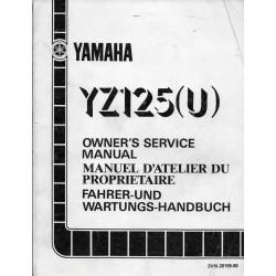 Manuel atelier YAMAHA YZ 125 (U) 1988 type 2VN