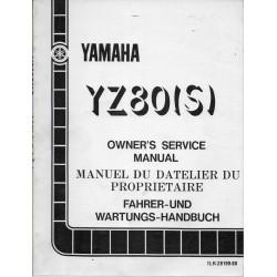 Manuel atelier YAMAHA YZ 80 (S) 1986 type 1LR