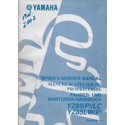 YAMAHA YZ 85 (P) / LC - LW (P) type 5PA modèle 2002