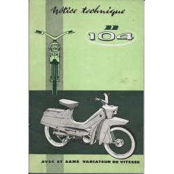 PEUGEOT BB 104 (manuel atelier 09 / 1962)