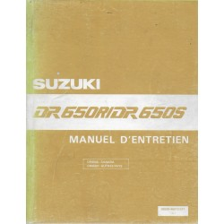 Manuel atelier SUZUKI DR 650 R / S de 1990 à 1992 (01 / 92)