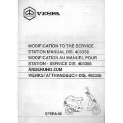 PIAGGIO SFERA - 80 cc (manuel atelier additif 07 / 1991)