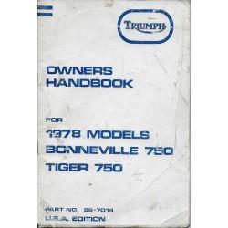 TRIUMPH 750 BONNEVILLE / 750 TIGER de 1978 (08 / 1977)