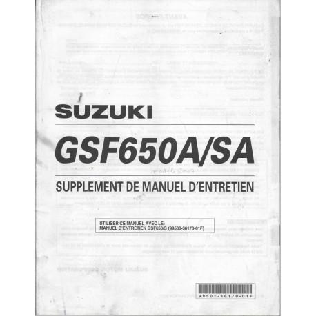 Manuel atelier SUZUKI GSF 650 AK7 / SAK7 de 2007 (03 / 07)