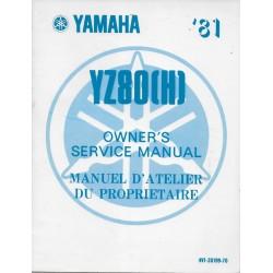 Manuel atelier YAMAHA YZ 80 (H) 1981