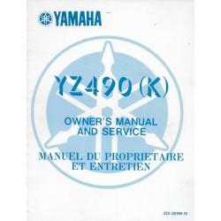 Manuel atelier YAMAHA YZ 490 (K) de 1983 type 23X