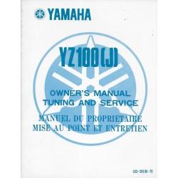Manuel atelier YAMAHA YZ 100 (J) de 1982 (type 5X3)