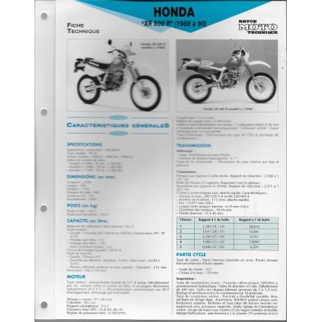 HONDA XR 600 R (1988 à 1990) Fiche RMT - la Librairie du ...