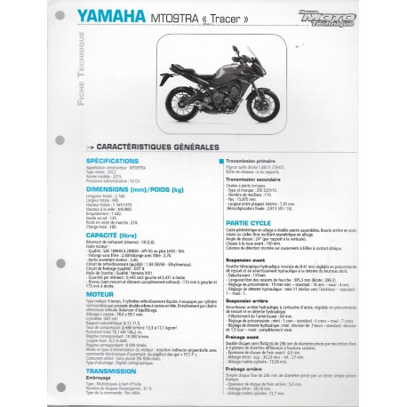 """YAMAHA MT09TRA """"Tracer"""" (2015) type 2SC2 (Fiche RMT)"""