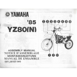 YAMAHA YZ 80 (N) 1985 (assemblage 09 / 1984) type 58T