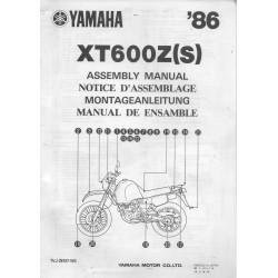 YAMAHA XT 600 Z (S) 1986 (assemblage 01 / 1986) type 1VJ