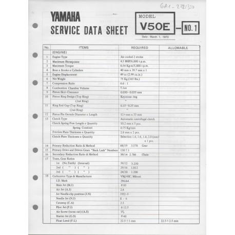 YAMAHA V 50 E (fiche technique 01 / 03 /1973)