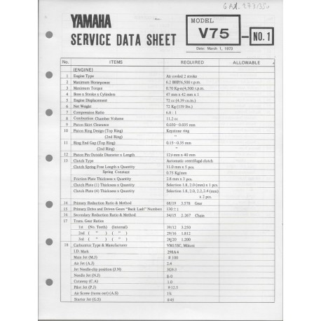 YAMAHA V 75 (fiche technique 01 / 03 /1973)