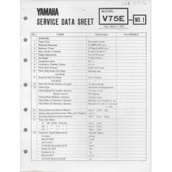 YAMAHA V 75 E (fiche technique 01 / 03 /1973)
