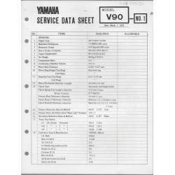 YAMAHA V 90 (fiche technique 01 / 03 /1973)