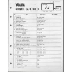 YAMAHA 125cc A7 (fiche technique 01 / 03 /1973)