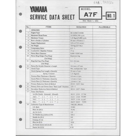YAMAHA 125cc A7F (fiche technique 01 / 03 /1973)