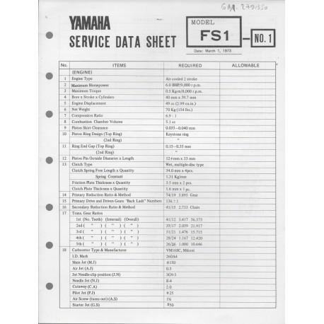 YAMAHA 50cc FS1 (fiche technique 01 / 03 /1973)
