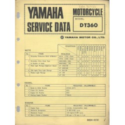 YAMAHA DT 360 (fiche technique 12/1973)
