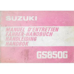 SUZUKI GS 850 G (X) de 1981 manuel utilisateur