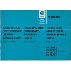 VESPA PX 80E / 125E / 150E / 200E (manuel atelier juin 1985)